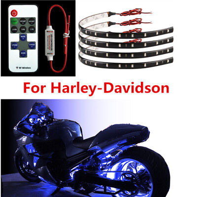 Motorcycle Wireless Remote Blue LED Flexible Strip Lights For Use Accessorise
