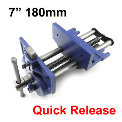 7 Quick Release Woodworking Vise Open 8-14 Double Guided Gray Cast Iron