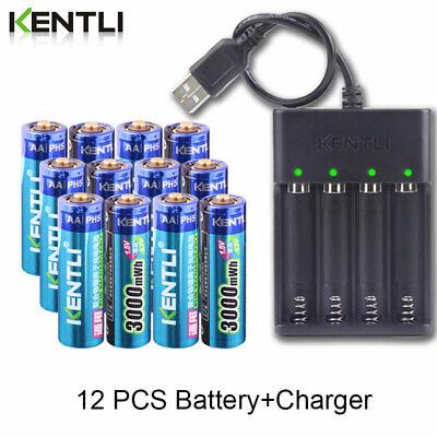 KENTLI AA 1.5V 3000mWh li-ion rechargeable battery +Charger BIG SALE -BEST (Best Price Rechargeable Batteries)