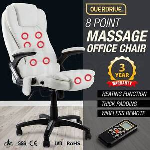 8 Point Massage Executive Office Chair Faux Leather White New Sydney City Inner Sydney Preview