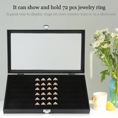 72 Slot Ring Display Case Organizer Jewelry Storage Box With Glass Top Cover (72 Slot Black Jewelry)