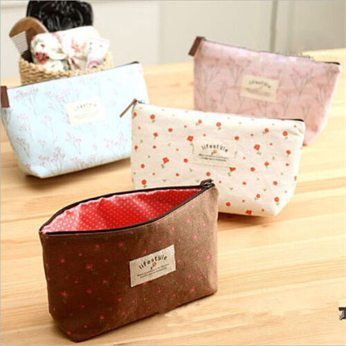 Country Flower Floral Pencil Case Bag Small Cosmetic Makeup