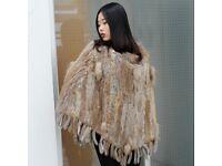 DAYMISFURRY--Rabbit Fur Knit Cape WIth Raccoon Fur Trim