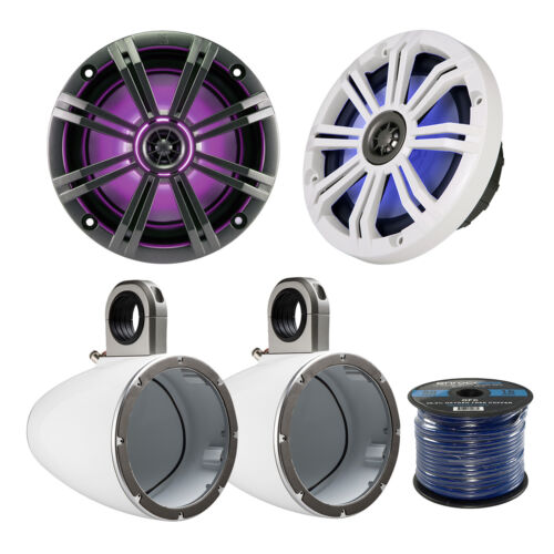"2x Kicker 8"" Marine Speakers, 2x 8"" Enclosures, Enrock 50 Ft 16-G Wire"