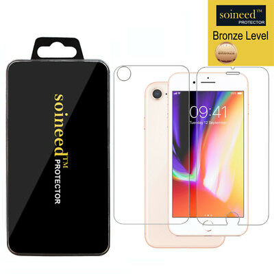 SOINEED Tempered GLASS [FRONT + BACK] Screen Protector For iPhone 8 / 8 (Glass Front)
