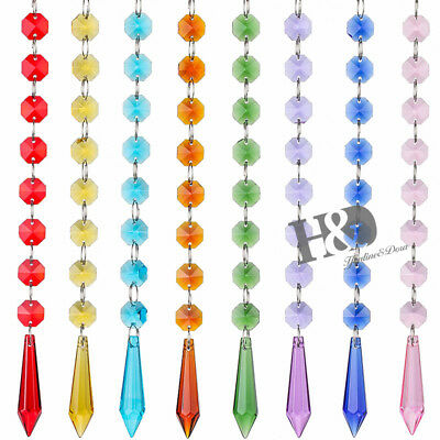 8Pcs Colorful Crystal Hanging Drops Pendant Chandelier Lamp Prisms Parts 55Mm