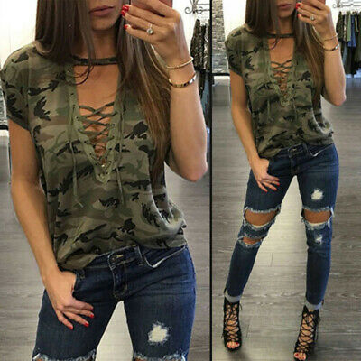 Lace Print Blouse (Women Camouflage Print Summer Lace UP V-neck Short Sleeve Blouse  T Shirt Top)