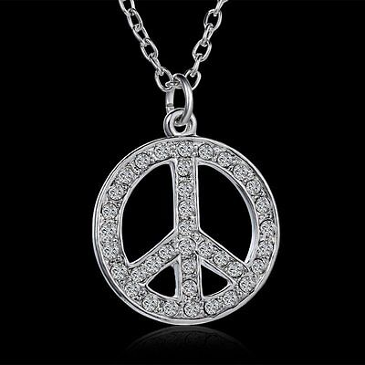 Crystal Rhinestone Silver Tone Round Peace Sign Pendant Necklace Fashion Jewelry