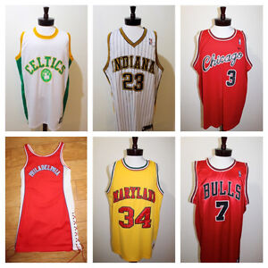 A SELECTION of NBA & COLLEGE BASKETBALL JERSEYS