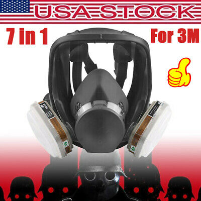 For 3m 6000 Series Full Face Vapor Dust Mask Respirator - 6800 Spray Paint New
