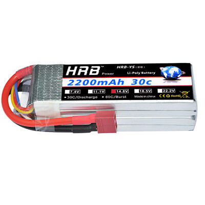 HRB 14.8V 2200mAh 4S LiPo Battery 30C-60C Deans T for RC Hel