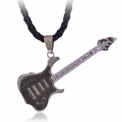 - Unisex Rock Guitar Stainless Steel Pendent Necklace Men Black Leather Jewelry