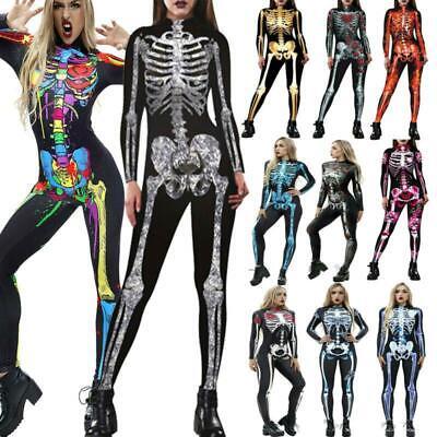 Halloween Women Skeleton Skull Jumpsuit Bodysuit Fancy Dress Cosplay Costume - Womens Skull Kostüm