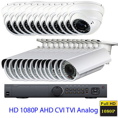 24Channel 1080P DVR Bullet Dome 2.6MP Surveillance 4-in-1 Security Camera System