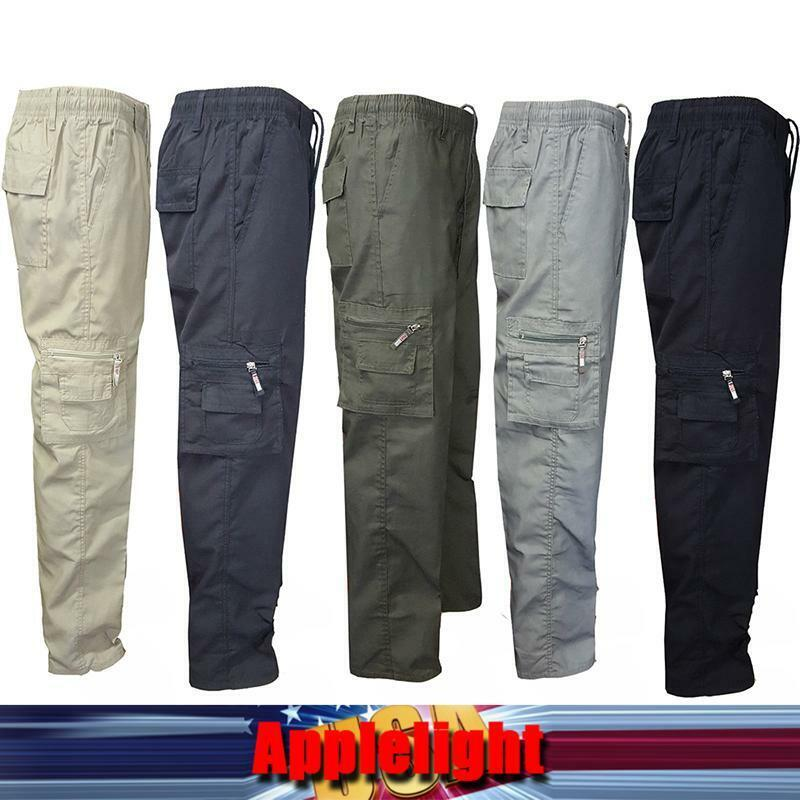 Mens Work Tactical Pants Military Gym Sport Combat Elasticated Cargo Trousers Us