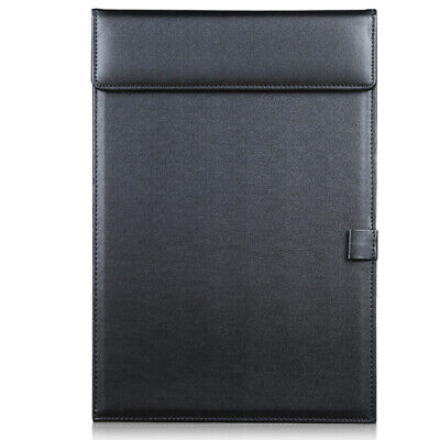 PU Leather Document File A4 Paper Holder Clip Board Office Gift With Pen Slot