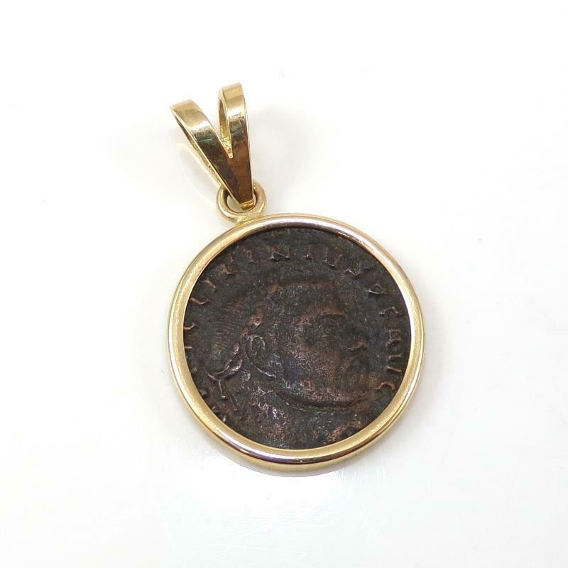 14K Yellow Gold Vintage Ancient Roman Coin Pendant LHI3
