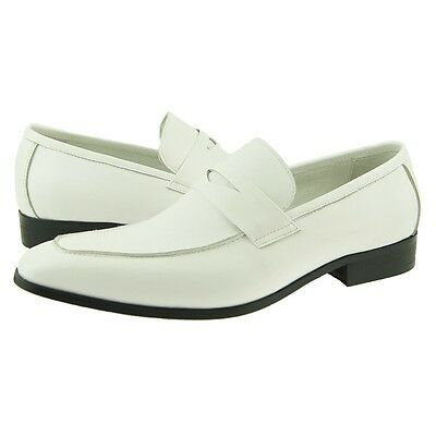 Carrucci Penny Loafer, Men's Dress/Casual Slip-on Leather Shoes, White