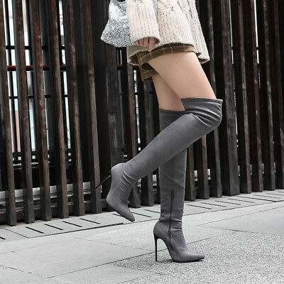 Grey Ladies Stiletto Thigh High Boots Shoes Pointed Toe Zip Winter 5 inches Heel