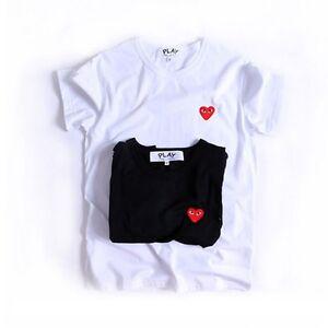 Unisexe Comme Des Garcons CDG Jeu Rouge Cœur Manche Courte T-shirts