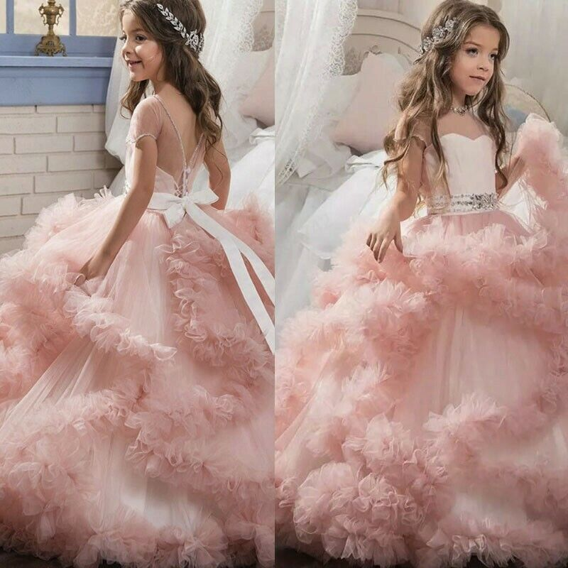 Child Baby Girl Princess Bridesmaid Pageant Gown Birthday Party Wedding Dress US