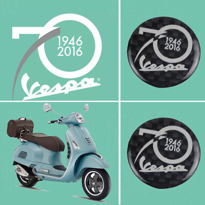 Black 3D Carbon Decorative Stickers Decals Set for All Vespa 70th Anniversary