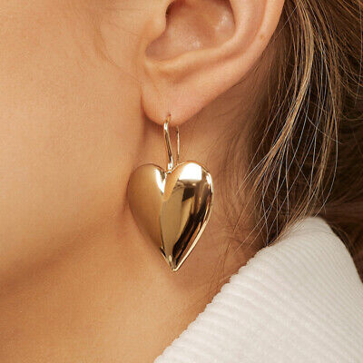 Fashion Design Women Gold Love Heart Pearl Dangle Drop Earrings Wedding Jewelry