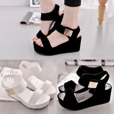 Summer Women's Wedge Sandals Peep Toe  Platform Casual Sandals Chunky Shoes