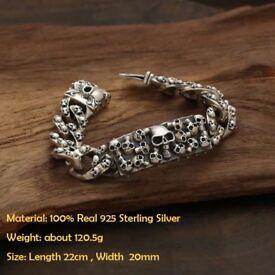 Solid Men's 925 Sterling Silver Skull Decorated Bracelet