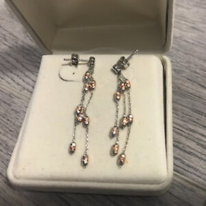 Rose gold/White gold 10K earrings