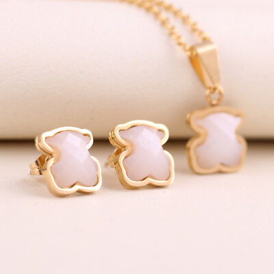 NEW Stainless steel Gold-plated agate Animal Bear Necklace Pendant Earrings Set