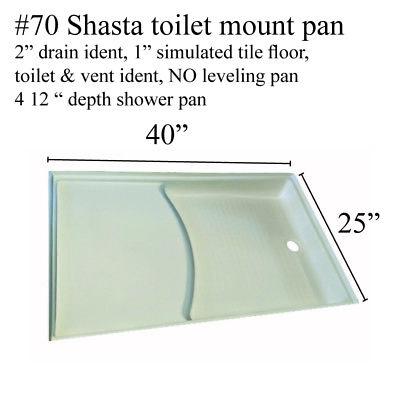 Shasta RV fiberglass shower pan w/toilet mount #70 Polar white 40