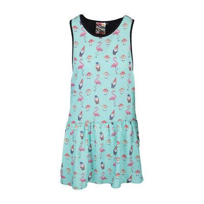 NewBreed Flamingo & Gnome Womens Mini Grunge Dress (Gnome Dress)