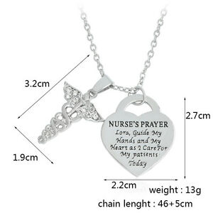 2018 Creative Angel Wings Love NURSE'S PRAYER Pendant Nurse Necklace