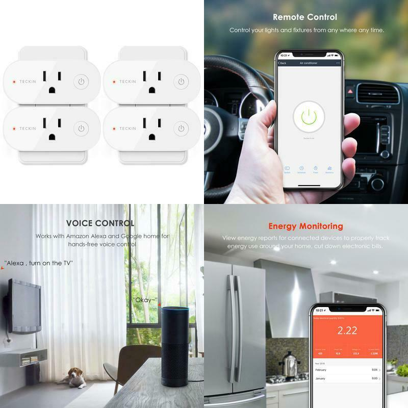 Smart No Hub Required 16A 4 Pack Plug Wifi Outlet Compatible