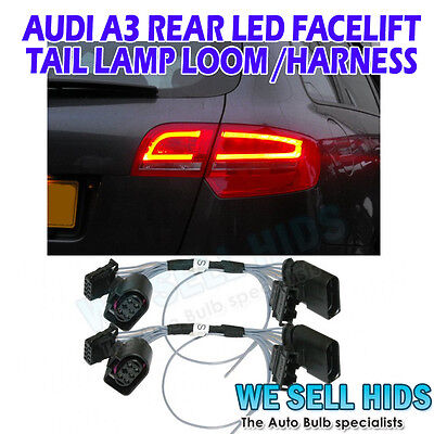 2 x Audi A3 Rear Tail lamp led facelift retrofit harness adapter loom rs3 s3 s3