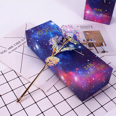 2PC Galaxy Rose Bing Crystal Luminous Forever Flower US Stoc