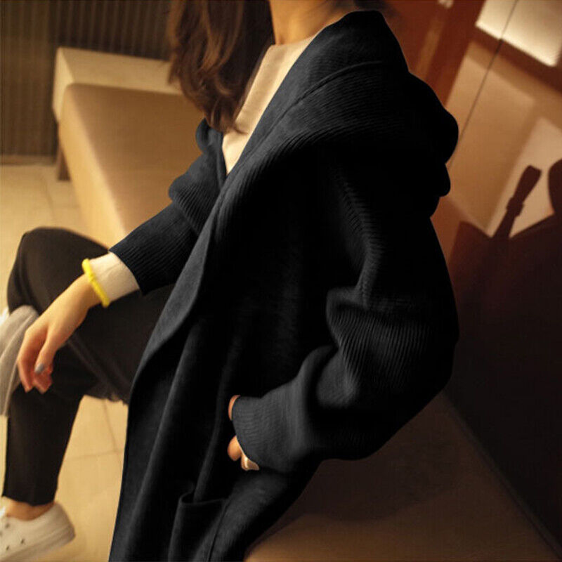 Womens Knitted Hoodie Sweater Open Front Coat Long Cardigan Casual Tops Jacket