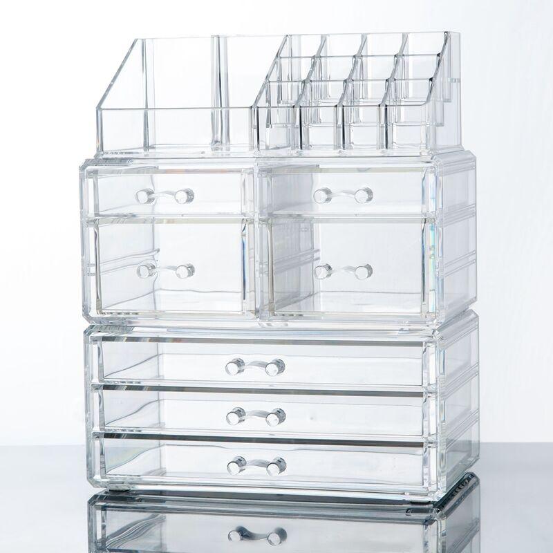 Makeup Cosmetics Jewelry Organizer Acrylic Display Box Storage w/ Drawers