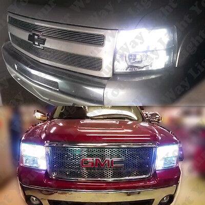 8x High Low Beam Headlight + Switchback LED Bulbs For 2007-2013 Silverado Sierra