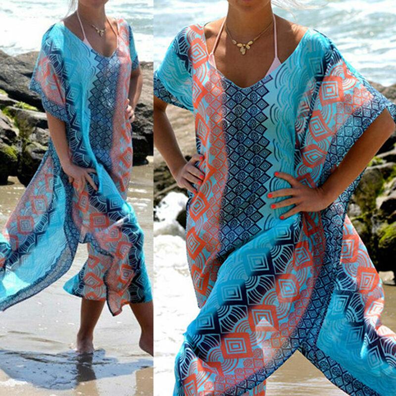 Damen Boho Kaftan Lang Bikini Cover Vertuschen Maxikleid Longshirt Strandkleid