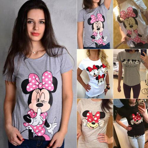 Damen Mickey Mouse Minnie Kurzarm T-Shirt Sommer Freizeit Oberteile Bluse Tops