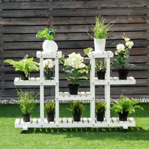 Rolling Flower Rack Wood Plant Stand Display Shelf 12 Pots