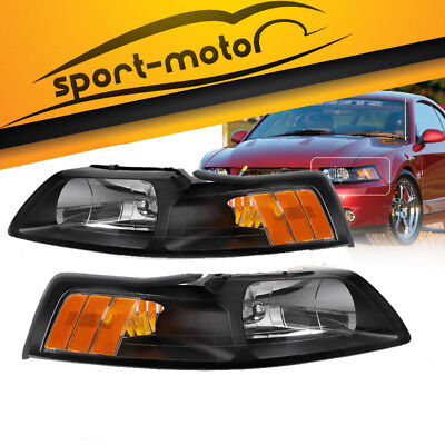 Black Housing Headlights For 1999-2004 Ford Mustang Replacement 99-04 (2001 Ford Mustang Headlights)