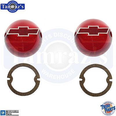 1956 56 Chevy Tail Light Lamp Lenses w/ Chrome Bowtie  ()