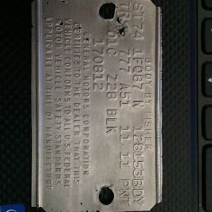 *******BODY TAG FISHER PLATE Z28 ,1974******