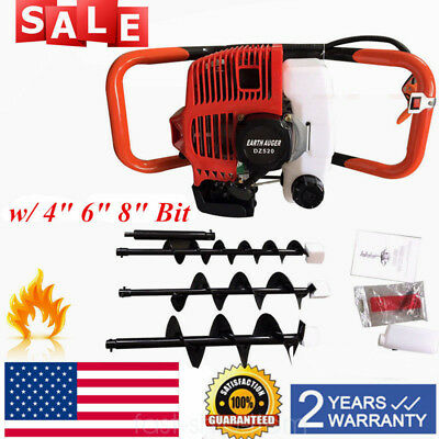 52cc Gas Powered Earth Auger Post Fence Hole Digger With 3bits Extension Bar Us