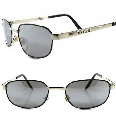 C.KALVIN - Genuine Vintage 80s Urban Fashion Mens Silver Rectangle Sunglasses