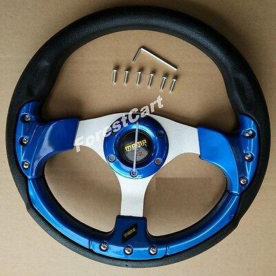 """12.5"""" Blue Steering Wheel w/ Horn Switch,6 Hole,EZGO Club Car Boat UTV Golf Cart"""