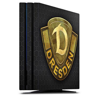 Sony Playstation 4 PS4 Pro Folie Aufkleber Skin - Goldenes Logo Dynamo Dresden